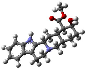 """Chemical structure of Yohimbine, which is Yohimbe's """"active ingredient. Image By MindZiper (Own work) [CC BY-SA 4.0], via Wikimedia Commons"""