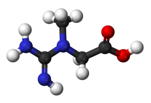 Creatine's molecular structure. By Ben Mills and Jynto [Public Domain], via Wikimedia Commons