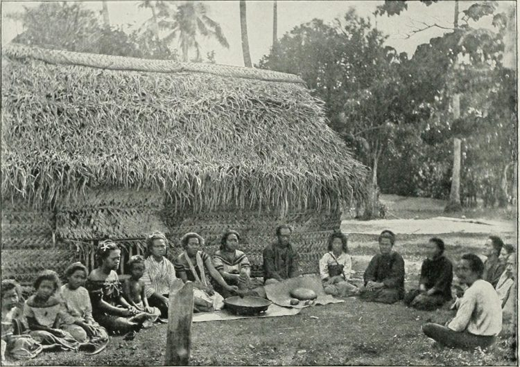 This image from 1908 shows Samoan women pounding kava kava root into a pulp to be brewed into tea, in preparation for a kava drink ceremony to welcome visitors from another village.