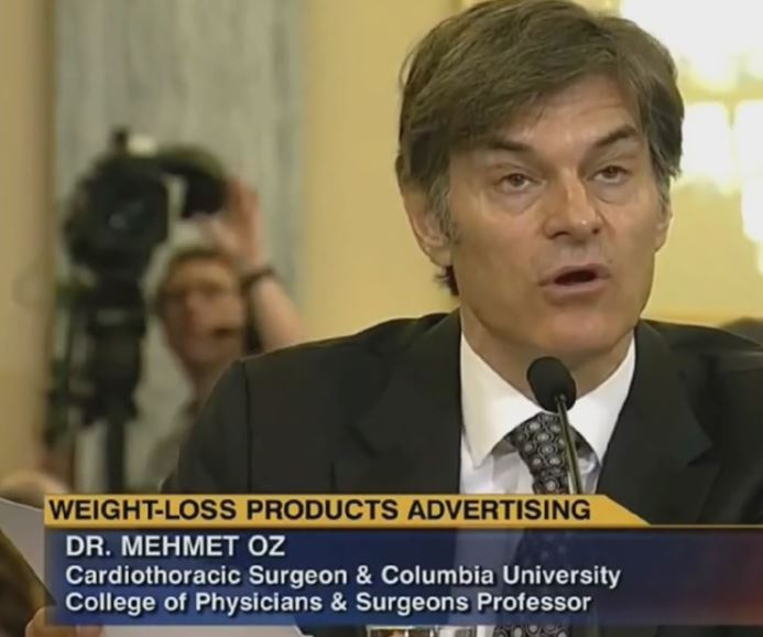 Dr. Oz answering harsh questions from a Senate panel in 2014.
