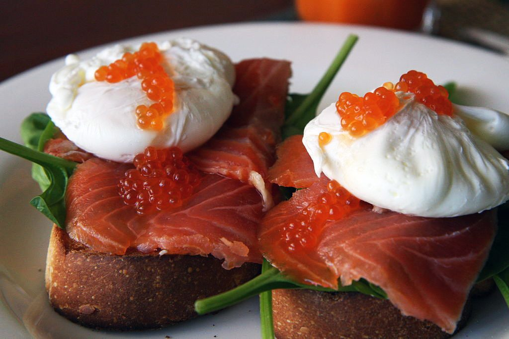 Poached eggs with salmon and caviar is a snack that's naturally loaded with phospholipid nutrition. By Glen MacLarty [CC BY 2.0], via Wikimedia Commons
