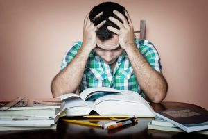 Studying is stressful → stress depletes Tyrosine → Low tyrosine depletes brain chemicals.