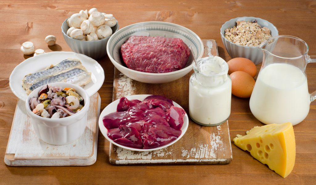 Foods highest in B12, including red meat, liver, fish, milk mushrooms, cheese, and oysters.