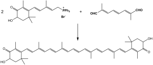 Synthesis of astaxanthin. By Michał Sobkowski (Own work) [Public domain], via Wikimedia Commons