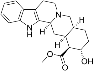 Chemical structure of rauwolscine. By Edgar181 (Own work) [Public domain], via Wikimedia Commons