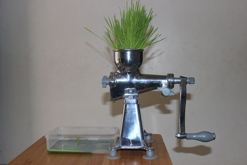 Home-made wheat grass juice is a popular health drink.