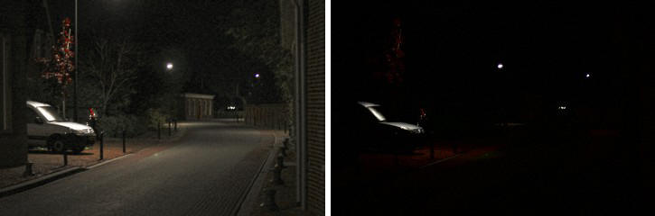 More details Effect of night blindness. Left: good night vision. Right: nightblind. By J.c.roeloffzen (Own work) [CC BY-SA 4.0], via Wikimedia Commons