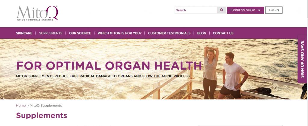 MitoQ website screenshot